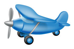 Cute little plane. An illustration of a cute little cartoon blue prop plane, perhaps a child toy royalty free illustration