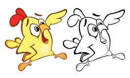 Illustration of a Cute Little Chicken Cartoon Character. Coloring Book stock illustration