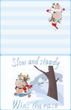 Illustration of a  Cute Little Cow Walking Ski. Postcard. Proverb Royalty Free Stock Photo