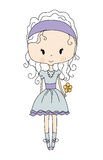 Illustration of a Cute Little Doll Girl with Flower. Design Dress Royalty Free Stock Photos