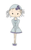 Illustration of a Cute Little Doll Girl with Flower. Design Dress. Comic journal style Stock Photo