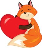 Adorable illustration of a fox holding a heart, in color, perfect for children`s book or Valentine`s Day card stock illustration