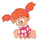 Illustration of Cute Little Girl Cartoon Character Stock Images