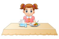 Cute little girl cartoon eating on dining table. Illustration of Cute little girl cartoon eating on dining table royalty free illustration