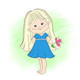 Illustration of a cute little girl with flower Royalty Free Stock Images