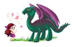 Illustration of cute little girl and friendly dinosaur Royalty Free Stock Images