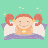 Illustration of a Cute Little Girl Lying on a Bed Supporting Her Face with Arms in Sleepiness Royalty Free Stock Images