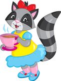 Illustration of a cute little girl raccoon, dressed beautifully, drinking tea, in color, perfect for children`s book vector illustration