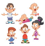 Illustration of a Cute Little Girls and Boys. Cartoon Royalty Free Stock Photos