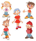 Illustration of a Cute Little Girls and Boys. Cartoon Stock Image