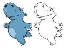 Illustration of a Cute Little Hippo Cartoon Character. Coloring Book Royalty Free Stock Image