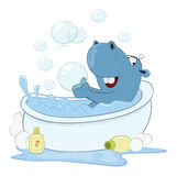Illustration of a Cute Little Hippo Cartoon Character Stock Photo