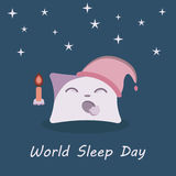 Illustration of a Cute Little Pillow Holding a Candle and Yawning in Sleepiness Stock Images