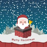 Illustration of cute Santa in a chimney Stock Image