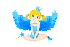 Illustration of cute little sitting fairy with blue wings Royalty Free Stock Image