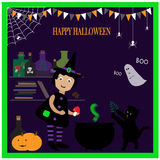 Illustration with cute little witch royalty free illustration