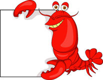 Cute lobster cartoon with blank sign Stock Photos