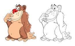 Illustration of Cute Monkey Cartoon Coloring Book Royalty Free Stock Photos
