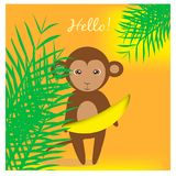 Illustration with cute monkey in jungles Stock Images