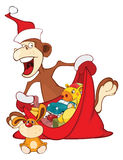 Illustration of a Cute Monkey and a Sack Full of Gifts. Year of the Monkey. Cartoon Character. Stock Photography