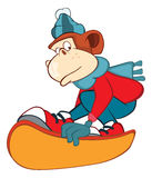 Illustration of a Cute Monkey Snowboarding. Cartoon Character Stock Photography