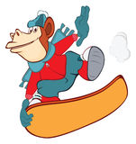 Illustration of a Cute Monkey Snowboarding Stock Images