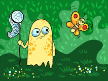 Illustration with cute monster and a butterfly on the background of grass, bushes. Vector Stock Photography