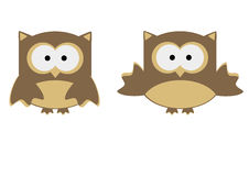 Illustration cute owl cartoon isolated on white. The illustration cute owl cartoon isolated on white Stock Images