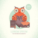 Illustration of a cute owl. Vector illustration of an owl with a briefcase and a book Royalty Free Stock Photos