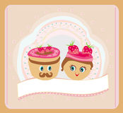 Illustration of a cute pair of cookies Stock Photos