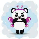 Sweet panda in pink butterfly costume, in the style of the cartoon stands with raised hands. Illustration of a cute panda dressed in a pink butterfly costume Royalty Free Stock Images