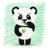 Sweet panda with a branch of bamboo in the style of the cartoon stands with a raised hand. Royalty Free Stock Images