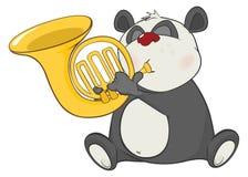 Illustration of a Cute Panda Trumpeter. Cartoon Character Royalty Free Stock Image