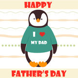 Illustration with cute penguin. Happy Father`s day greeting card. Illustration with cute baby penguin. Happy   Father`s day greeting card Stock Photos