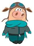 Illustration of a Cute Pig Aviator. Cartoon Character Stock Photos