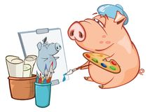 Illustration of a Cute Pig. Cartoon Character Stock Images