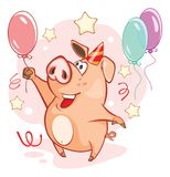 Illustration of a Cute Pig. Cartoon Character Royalty Free Stock Images