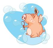 Illustration of a Cute Pig. Cartoon Character Royalty Free Stock Photos