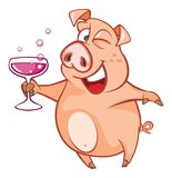 Illustration of a Cute Pig. Cartoon Character Stock Image