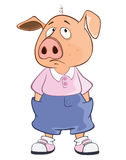 Illustration of a Cute Pig. Cartoon Character Stock Photos