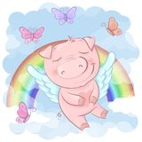 Illustration of a cute pig cartoon on a rainbow. Background. Vector vector illustration