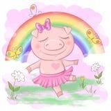 Illustration of a cute pig cartoon on a rainbow background. Vector stock illustration