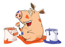 Illustration of a Cute Pig. A  house painter. Cartoon Character Royalty Free Stock Photo