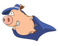 Illustration of Cute Pig in Superhero Costume Cartoon Character Royalty Free Stock Photos