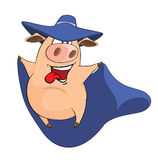 Illustration of Cute Pig in Superhero Costume Cartoon Character Stock Image
