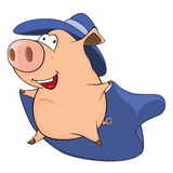 Illustration of Cute Pig in Superhero Costume Cartoon Character Royalty Free Stock Images