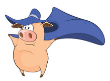 Illustration of Cute Pig in Superhero Costume Cartoon Character Stock Photos