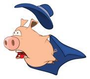 Illustration of Cute Pig in Superhero Costume Cartoon Character Royalty Free Stock Photos