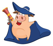Illustration of Cute Pig in Superhero Costume Cartoon Character Royalty Free Stock Image