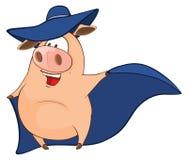 Illustration of Cute Pig in Superhero Costume Cartoon Character Stock Photos